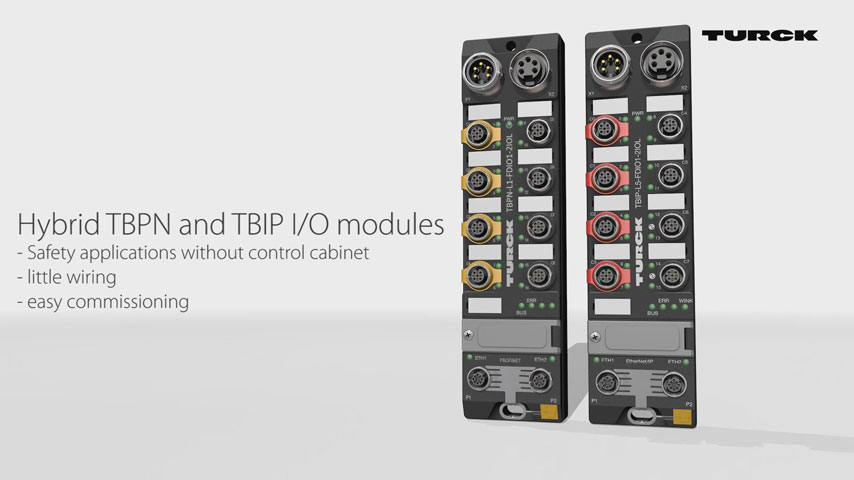 TBPN and TBIP – Hybrid I/O Modules for IP67 Safety Applications